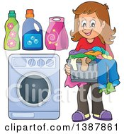 Clipart Of A Happy Brunette White Woman Doing Laundry Royalty Free Vector Illustration
