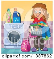 Clipart Of A Happy Brunette White Woman Holding A Basket Of Dirty Laundry Royalty Free Vector Illustration