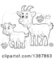 Clipart Of A Cartoon Black And White Lineart Happy Goat And Kid Royalty Free Vector Illustration