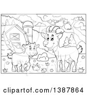 Cartoon Black And White Lineart Happy Goat And Kid In A Barnyard