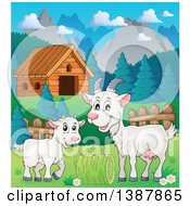 Cartoon Happy White Goat And Kid Near A Cabin In A Barnyard