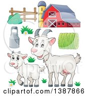 Cartoon Happy White Goat And Kid And Barnyard Items