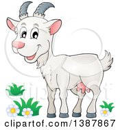 Clipart Of A Cartoon Happy White Goat Royalty Free Vector Illustration by visekart