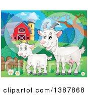 Clipart Of A Cartoon Happy White Goat And Kid In A Barnyard Royalty Free Vector Illustration