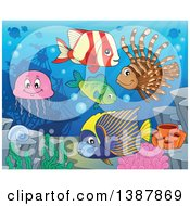 Clipart Of Saltwater Marine Fish At A Reef Against A Ship Wreck Royalty Free Vector Illustration