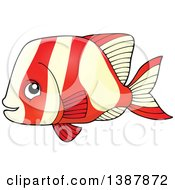 Clipart Of A Red And White Striped Saltwater Marine Fish Royalty Free Vector Illustration