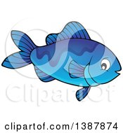 Clipart Of A Blue Saltwater Marine Fish Royalty Free Vector Illustration