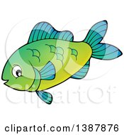 Clipart Of A Green Saltwater Marine Fish Royalty Free Vector Illustration