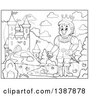 Clipart Of A Cartoon Black And White Lineart Prince Near A Castle Royalty Free Vector Illustration by visekart