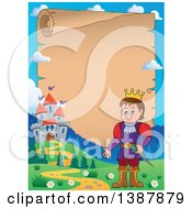 Clipart Of A Cartoon Happy White Prince Over A Parchment Scroll Near A Castle Royalty Free Vector Illustration by visekart