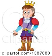 Clipart Of A Cartoon Happy White Prince Royalty Free Vector Illustration