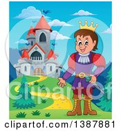 Clipart Of A Cartoon Happy White Prince Near A Castle Royalty Free Vector Illustration by visekart