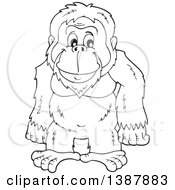 Clipart Of A Cartoon Black And White Lineart Happy Orangutan Monkey Royalty Free Vector Illustration