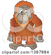 Clipart Of A Cartoon Happy Orangutan Monkey Royalty Free Vector Illustration