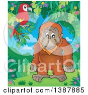Clipart Of A Cartoon Happy Orangutan Monkey And Parrot In A Jungle Royalty Free Vector Illustration