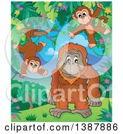 Clipart Of A Cartoon Happy Orangutan And Monkeys In A Jungle Royalty Free Vector Illustration