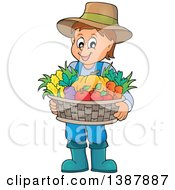 Cartoon Happy Brunette White Male Farmer Holding A Basket Of Harvest Produce