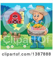 Clipart Of A Cartoon Happy Brunette White Male Farmer Holding A Basket Of Harvest Produce In A Barnyard Royalty Free Vector Illustration by visekart