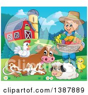 Cartoon Happy Brunette White Male Farmer Holding A Basket Of Harvest Produce By Livestock In A Barnyard