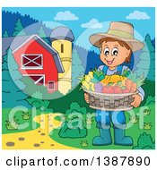 Cartoon Happy Brunette White Male Farmer Holding A Basket Of Harvest Produce In A Barnyard