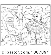 Cartoon Black And White Lineart Male Farmer Holding A Basket Of Harvest Produce In A Barnyard