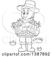 Cartoon Black And White Lineart Male Farmer Holding A Basket Of Harvest Produce