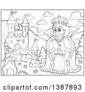 Clipart Of A Cartoon Blackand White Lineart Happy Queen By A Castle Royalty Free Vector Illustration