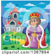 Clipart Of A Cartoon Happy Queen By A Castle Royalty Free Vector Illustration