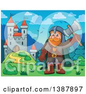 Clipart Of A Cartoon Happy Male Dwarf Warrior Holding Up An Axe Near A Castle Royalty Free Vector Illustration