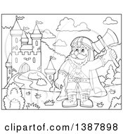 Clipart Of A Cartoon Black And White Lineart Happy Male Dwarf Warrior Holding Up An Axe Near A Castle Royalty Free Vector Illustration by visekart