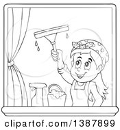 Clipart Of A Cartoon Black And White Lineart Woman Washing Windows Royalty Free Vector Illustration