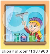 Cartoon Happy Blond White Woman Washing Windows
