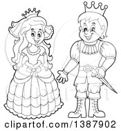 Clipart Of A Cartoon Happy Black And White Princess And Prince Royalty Free Vector Illustration by visekart