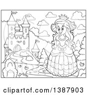 Clipart Of A Black And White Lineart Happy Princess Near A Castle Royalty Free Vector Illustration by visekart