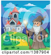 Clipart Of A Cartoon Senior Druid Man Holding A Glowing Magic Stick By A Castle Royalty Free Vector Illustration by visekart