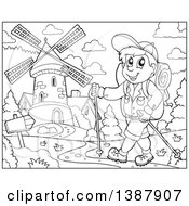 Clipart Of A Black And White Lineart Happy Male Hiker Walking Near A Windmill Royalty Free Vector Illustration