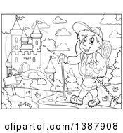 Clipart Of A Black And White Lineart Happy Male Hiker Walking Near A Castle Royalty Free Vector Illustration