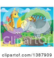 Poster, Art Print Of Happy Rhinceros Water Buffalo Giraffe Hippo And Parrot At A Pond