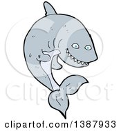 Clipart Of A Cartoon Shark Royalty Free Vector Illustration by lineartestpilot
