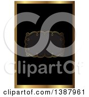 Clipart Of A Black And Gold Ornate Wedding Invitation Or Menu Design With A Frame For Text Space Royalty Free Vector Illustration