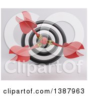 Clipart Of A 3d Target With Three Darts In The Bulls Eye On A Shaded Background Royalty Free Illustration