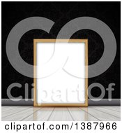 Clipart Of A Blank Wood Picture Frame Resting On A Wood Floor Against A Black Damask Wall Royalty Free Vector Illustration