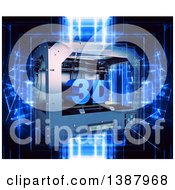 Clipart Of A 3d Printer Over Blue Futuristic Lights On Black Royalty Free Illustration