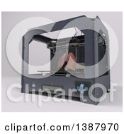 Clipart Of A 3d Printer Creating Lungs On A Shaded Background Royalty Free Illustration by KJ Pargeter