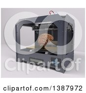 Clipart Of A 3d Printer Creating A Brain On A Shaded Background Royalty Free Illustration by KJ Pargeter