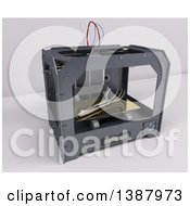 Clipart Of A 3d Printer Creating A Hand And Arm On A Shaded Background Royalty Free Illustration