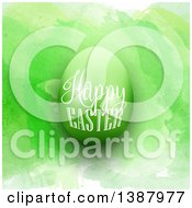 Clipart Of A Happy Easter Greeting On A 3d Egg Over Green Watercolor Royalty Free Vector Illustration
