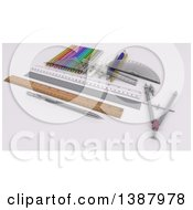 Clipart Of 3d Drafting Tools And Rulers On A Desk Royalty Free Illustration