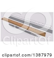 Clipart Of A 3d Clutch Pencil And Rulers On A Desk Royalty Free Illustration