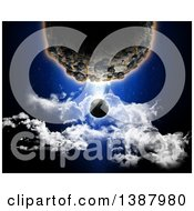 Clipart Of A 3d Large Planet Dwarfing Another Over Clouds Royalty Free Illustration
